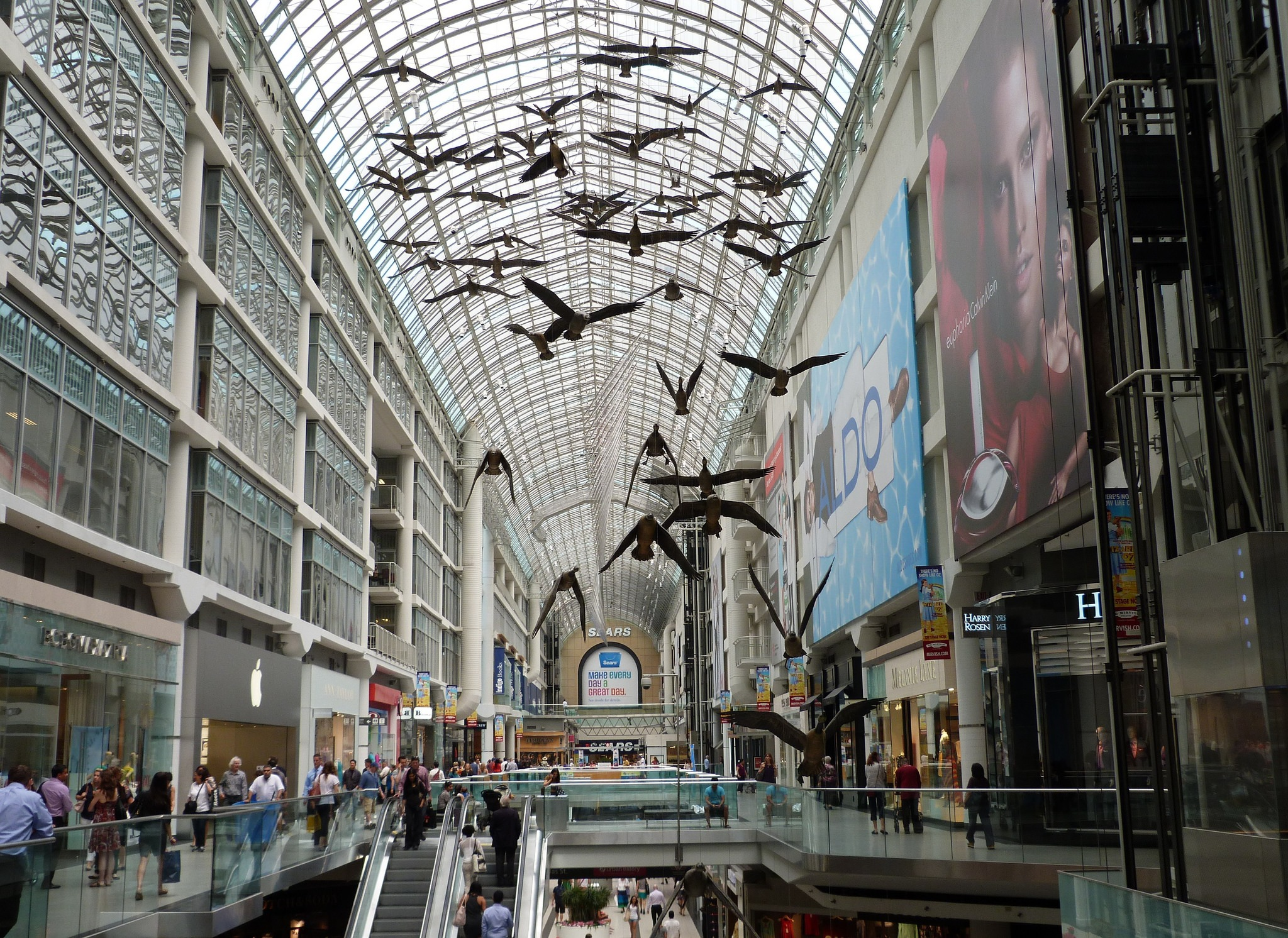 The Eaton Centre in downtown Toronto has stood the test of time, even in this market that seems adamant on malls such as this. It may be time to go a different route and put the large spaces to better use. (Credit: Flickr photo)