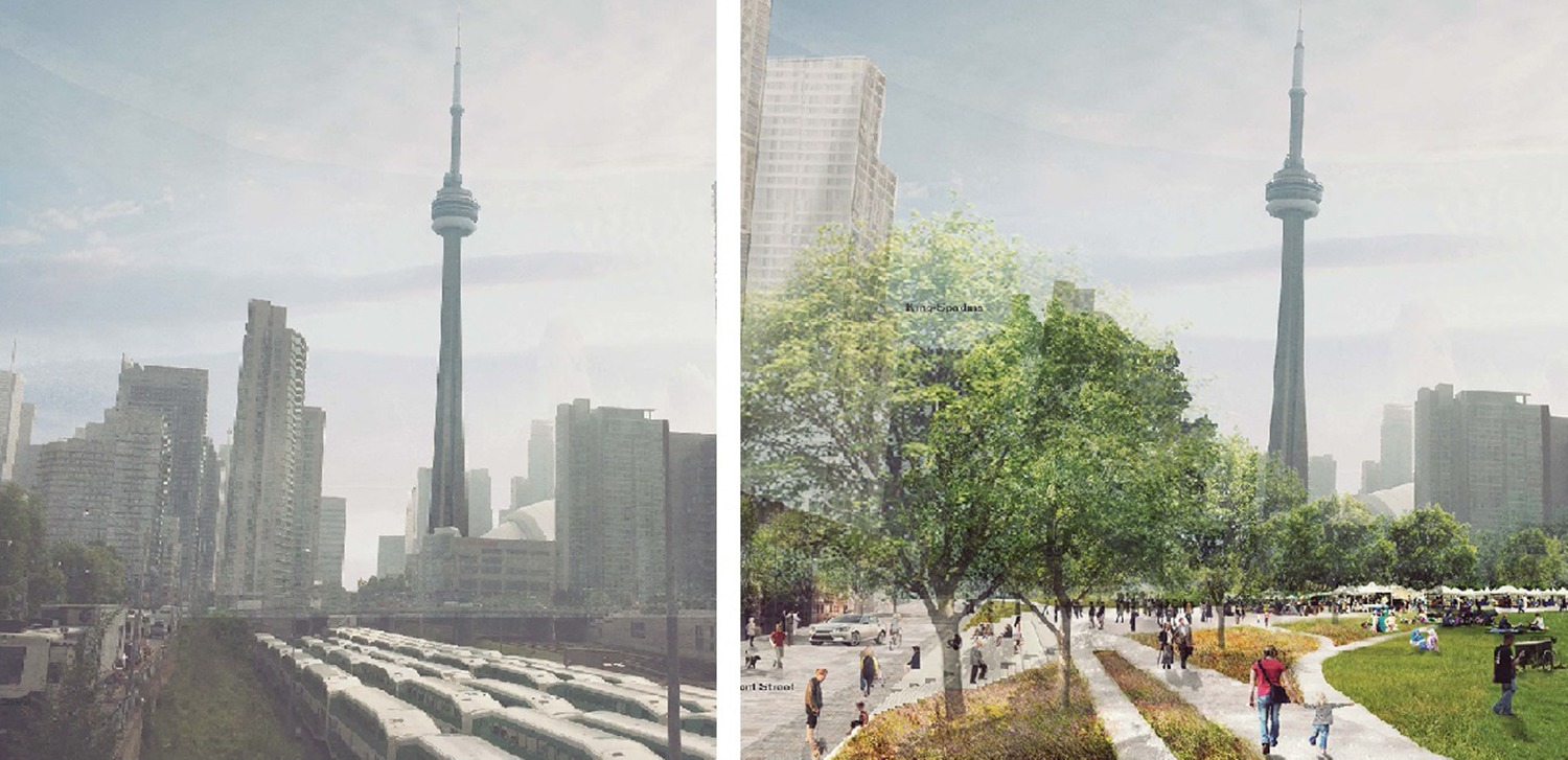 Before and after shot of Rail Deck park, which would be situated on Front Street between Bathurst Street and Blue Jays Way. (Photos by PUBLIC WORK)