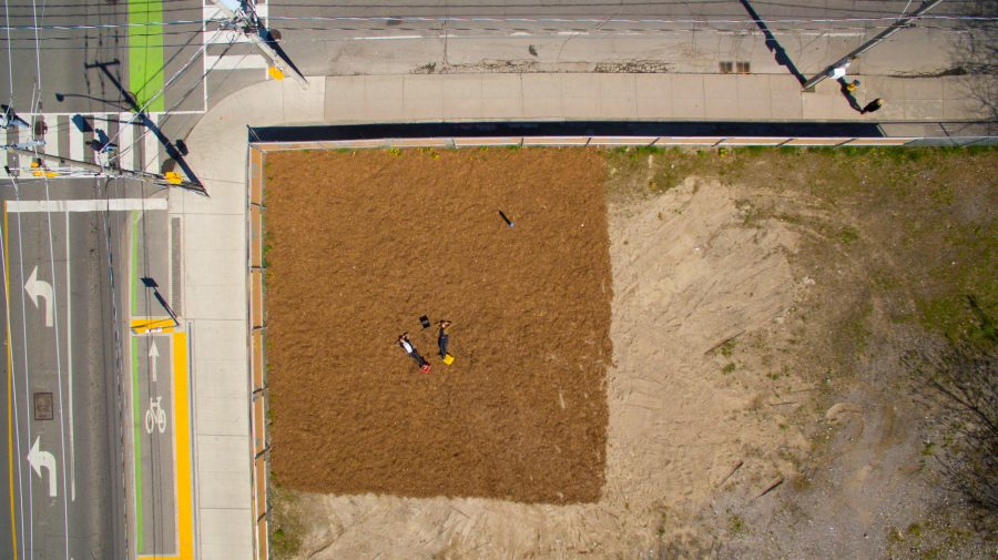 "A ""before"" photo shot from above at the Oben Flats vacant lot at Sherbourne and Gerrard, now filled in with an urban farm producing more than 400 pounds of produce annually. (Photo courtesy of Chris So)"