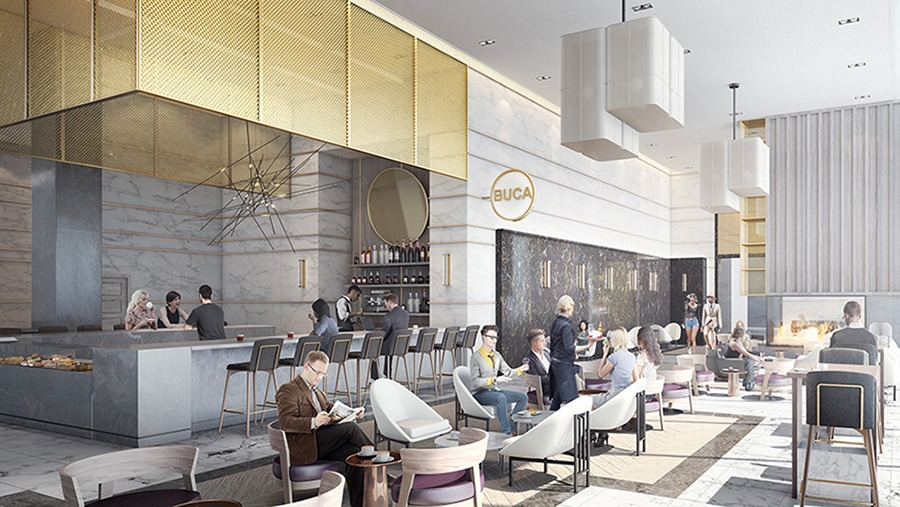 Much contemplation goes into the retail space lining the street level of condo buildings. Within Transit City, a new community in Vaughan, the high-end Buca brand was chosen to fill the space in the lobby, adding an urban Toronto feel to the suburban address. (Rendering courtesy of CentreCourt Developments)