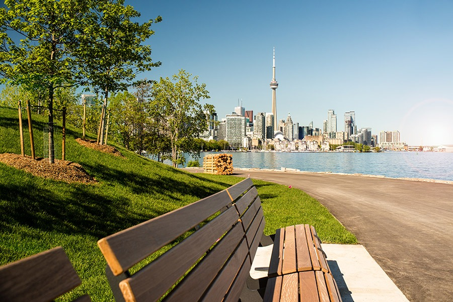 An idyllic city view from William G. Davis Trail at Ontario Place. (Photo by Nadia Molinari©)