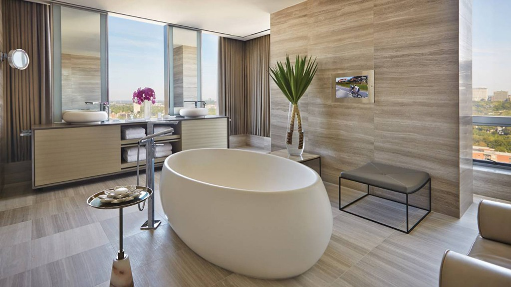 Awash with romance. The bathroom in the Presidential Suit at The Four Seasons, Toronto.