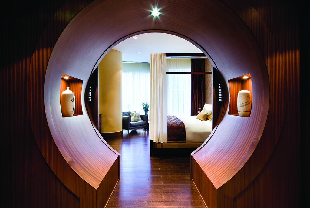 This way to love heaven. The moon gate entrance to the bedroom in the Shangri-La Suite, Toronto.