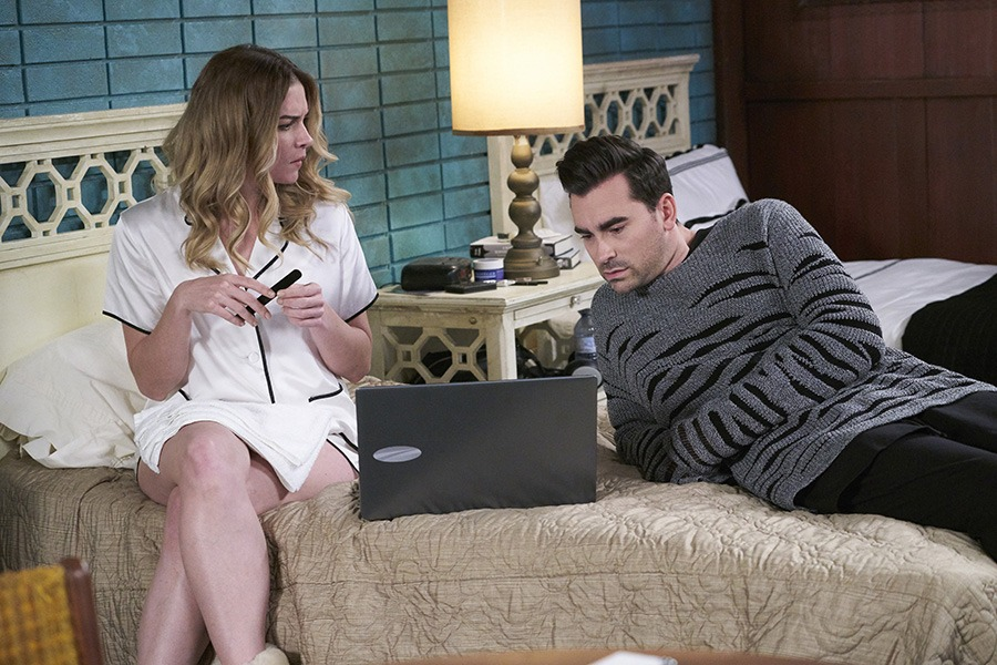 Lead actor and co-executive producer Dan Levy plays David Rose on CBC's Schitt's Creek. Levy, who planned out much of the set design and decor via Pinterest, is seen here with Annie Murphy, who plays his sister, Alexis Rose.