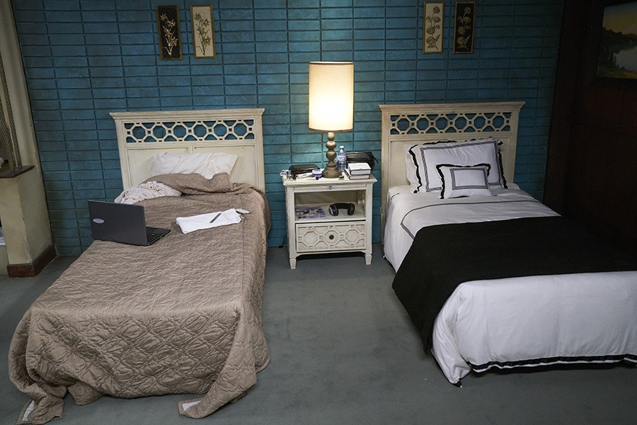 The iconic turquoise wall in the bedroom of the adult Rose siblings in CBC's Schitt's Creek was envisioned by Dan Levy after he saw it in a real life motel from around 1955.