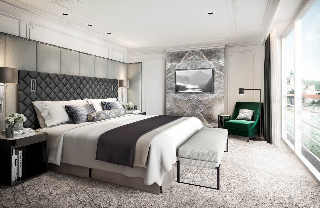 Crystal Cruises penthouse suite bedroom that demonstrates how technology from ships can be incorporated in home design, by placing USB chargers in bedside tables.
