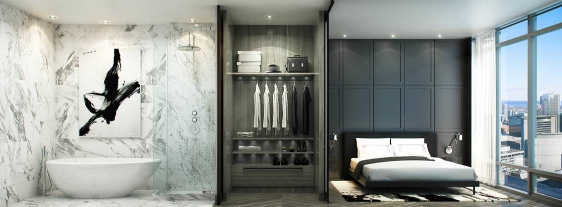 The Residences at 488 University, demonstrating the built-in closets that are becoming a standard feature of luxury developments