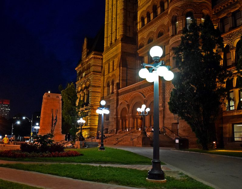 "The Toronto Centre walk, by Ghost Walks, starts in front of Old City Hall and runs every night of the week in October. Among its many legends, this guided tour tells the tale of ""the morgue attendant who was dying to stay."" (Courtesy of Ghost Walks)"