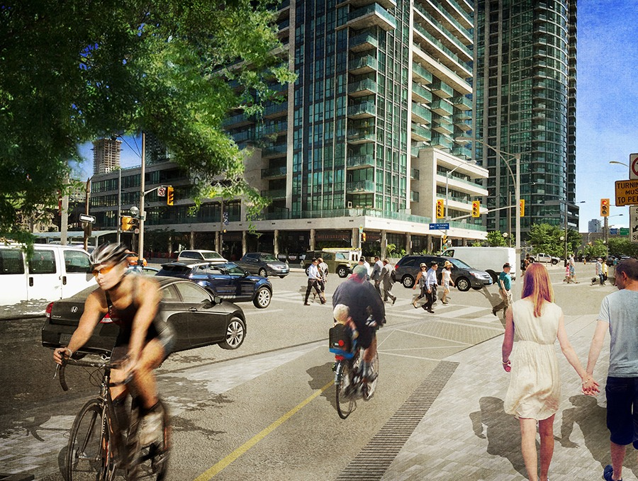 A revitalized intersection at Harbour and Bay will accommodate traffic flow between the Gardiner Expressway, the downtown core and the waterfront. (Rendering courtesy City of Toronto)