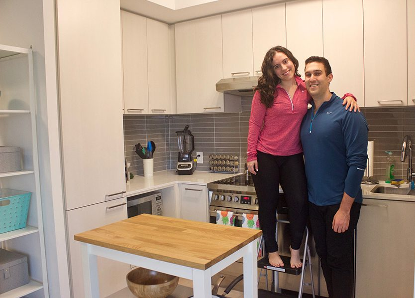 With a love story that began on public transit, Jennifer Armel and Jonathan Slobodsky moved into a 650-square-foot midtown Toronto condo, which can feel fairly tight sometimes due to Slobodsky's height.