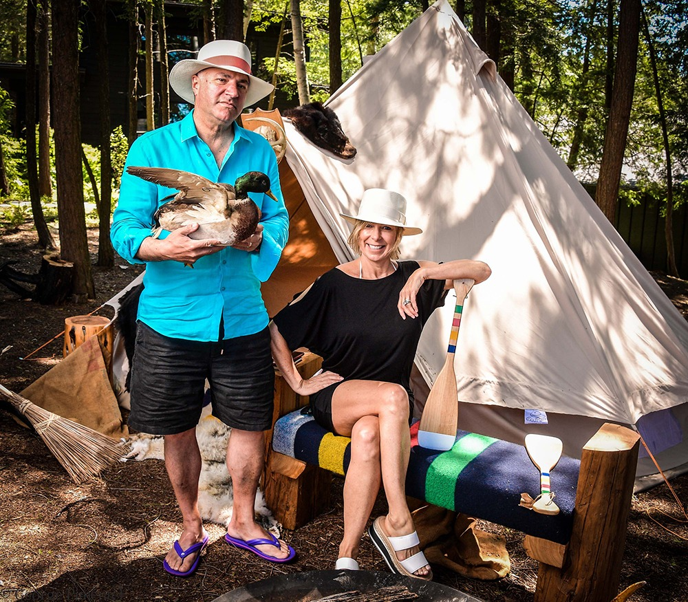 Shark Tank's Kevin O'Leary, with his wife, Linda, got his ducks in a row to pose for lauded celebrity photographer George Pimentel in front of the yurt/teepee/Canadiana structure. (Photo by George Pimentel for Commission Yourself)