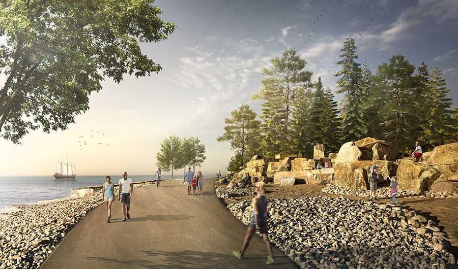 Located at the eastern end of the Ontario Place Islands, the Trillium Park and William G. Davis Trail dramatically transform a 7.5-acre asphalt parking lot into a naturalized green refuge, celebrating the legacy of Ontario Place and the landscapes of Ontario. (Photos and renderings courtesy of LANDinc.)