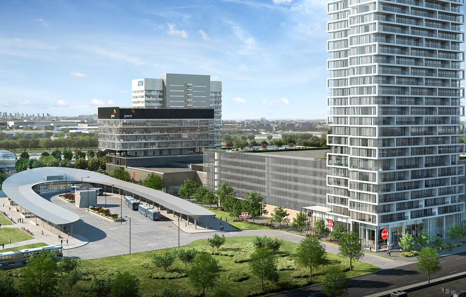 Vaughan, part of the 905 family, is shedding its traditional suburban image and becoming urbanized. One catalyst for the transformation is Transit City condos, which will stand 55 storeys tall and be steps from the newest TTC subway station as well as a regional bus terminal. (Rendering courtesy of CentreCourt Developments)