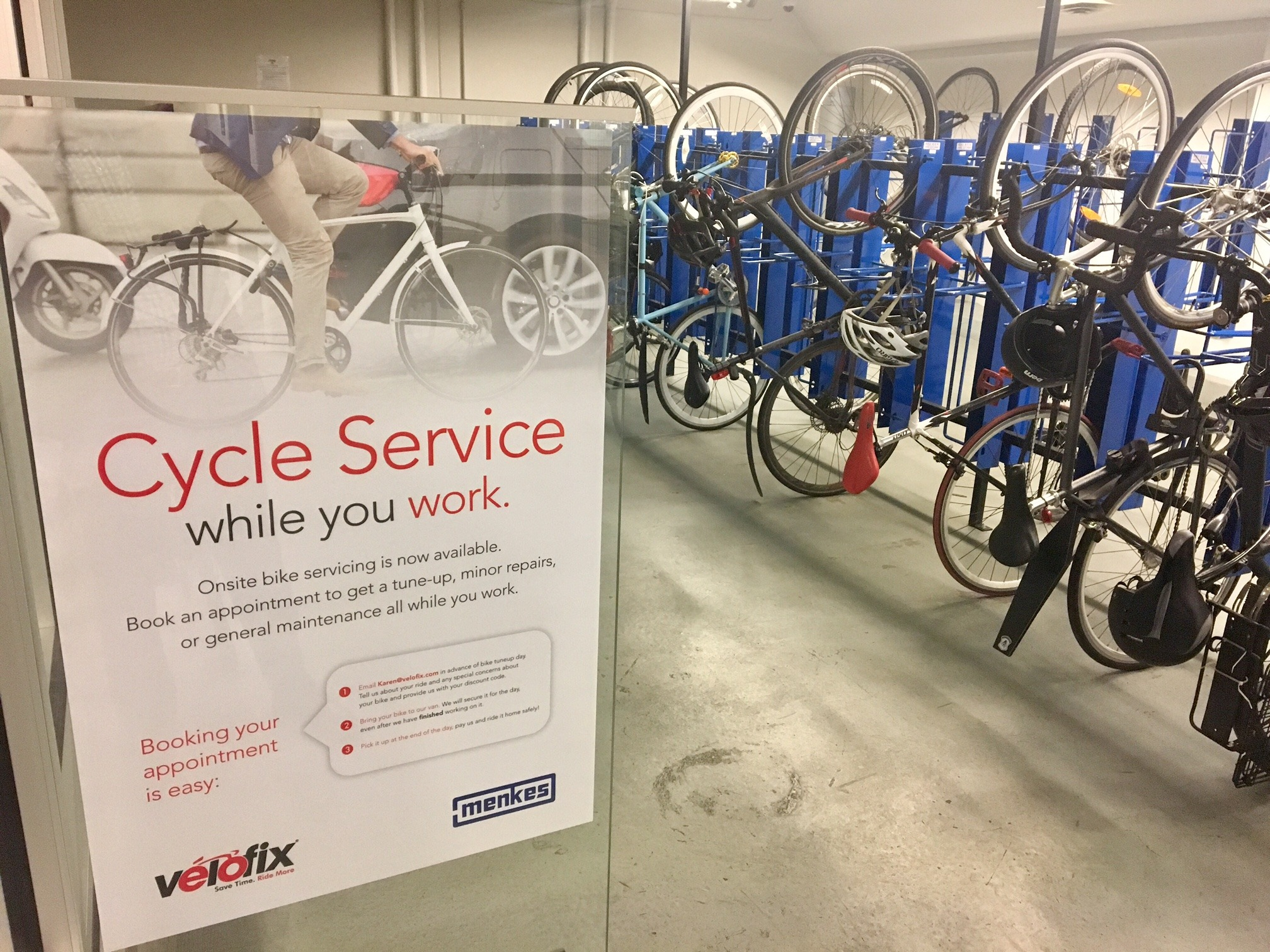 Menkes now offers onsite bike servicing, a new amenity that is part of the company's Fitwell program, encouraging an active lifestyle. Advocating for cycling is part of Menkes' priority to promote well-being. (Photo courtesy Menkes)